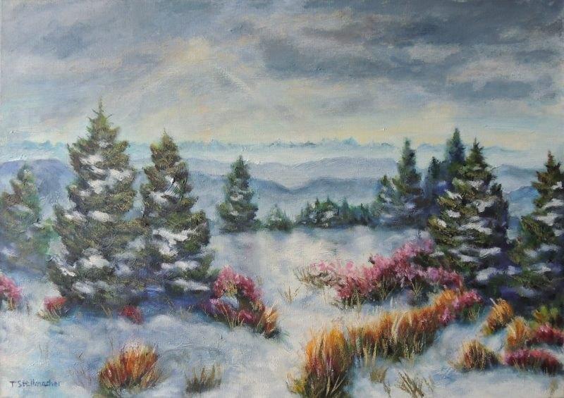 Blick von der Schnepfhalde zu den Alpen Acryl 50x70