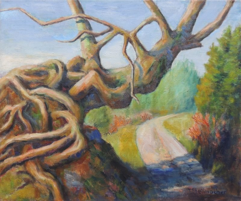 Baum über dem Weg, 50x60 cm auf Leinwand, Oel