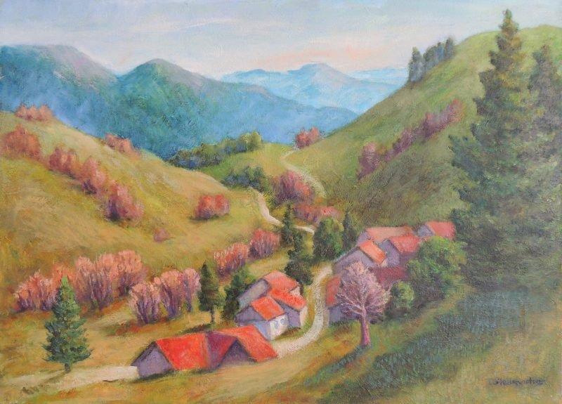 Hoehendorf im Schwarzwald Acryl auf Leinwand 50x70 cm