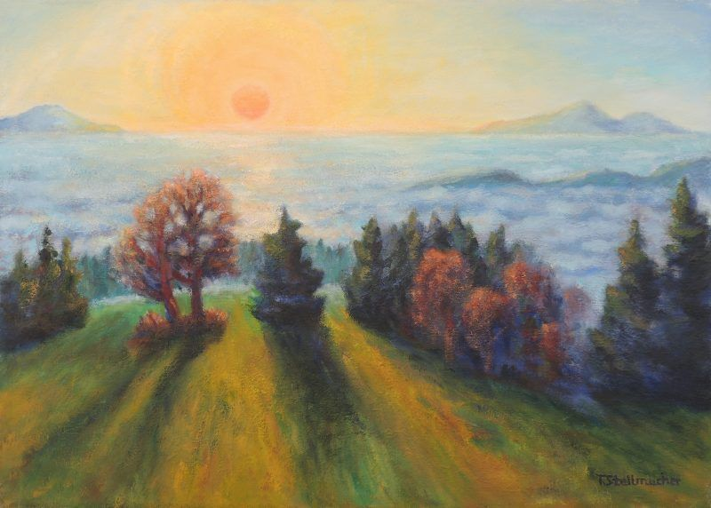 Sonnenuntergang ueberm Nebelmeer Acryl auf Leinwand 50x70 cm