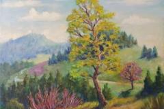 Birke im Frühling bei Gersbach im Suedschwarzwald Acryl auf Leinwand 40x50 cm