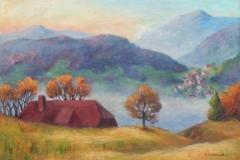 Nebel ueber dem Tal im Suedschwarzwald, Gemaelde in Acryl, 50x70 cm, auf Leinwand