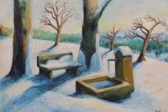 Winter auf dem Dinkelberg bei Rheinfelden Acryl und Oel auf Leinwand 50x70 cm