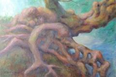 Wurzelwerk an Gelaendekante Acryl auf Leinwand 50x70 cm