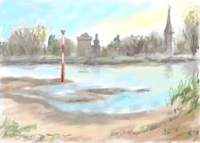 Blick auf Zons und den Rhein