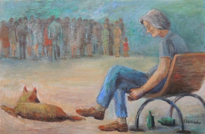 Am Rande der Gesellschaft Gemaelde in Acryl auf Leinwand 40x70 cm