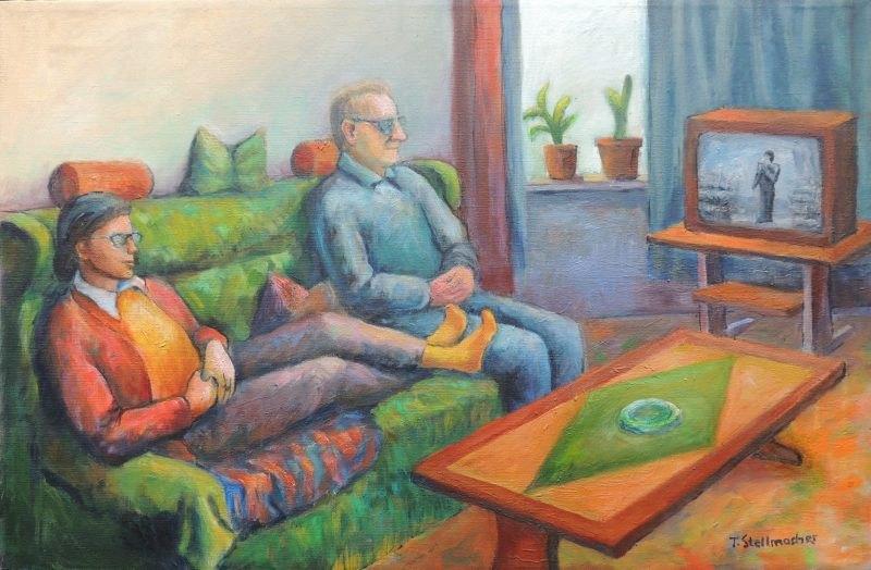 Fernsehnachmittag Acrylbild auf Leinwand 50x70 cm