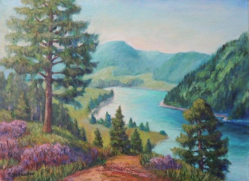 Lac de Longemer in den Vogesen Acrylbild auf Leinwand 50x70 cm