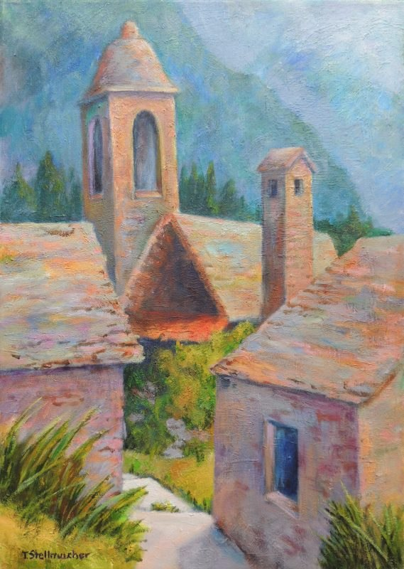 Dorf im Bavona-Tal Acryl auf Leinwand 50x70 cm