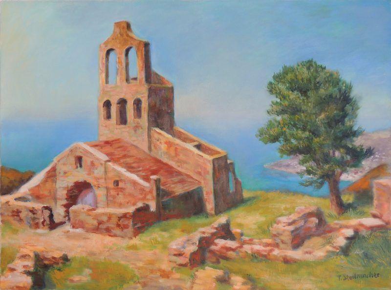 Kirchenruine an der Costa Brava Acryl auf Leinwand 50x70cm