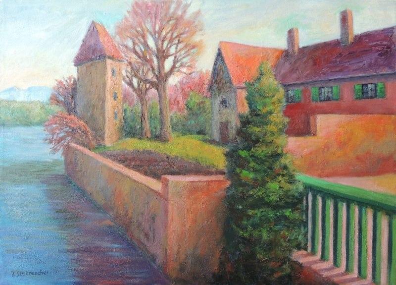 Rheinufer mit Rheinturm in Rheinfelden, Acryl auf Leinwand 50x70 cm