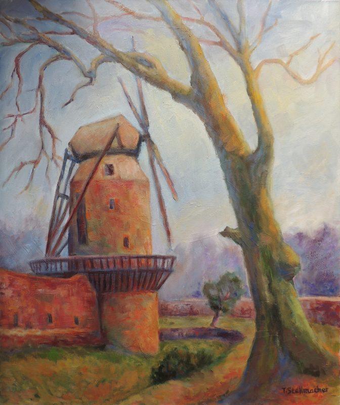 Windmuehle in Zons Acryl auf Leinwand 50x60 cm