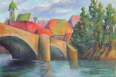 Rheinbruecke von Rheinfelden, Acryl auf Leinwand 50x70cm