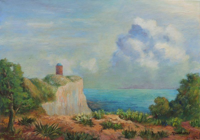 Kap Arkona auf Ruegen an der Ostsee Gemaelde in Acryl auf Leinwand 50x70 cm