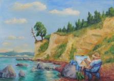 Maler auf Rügen, Acryl auf Leinwand, 50x70 cm