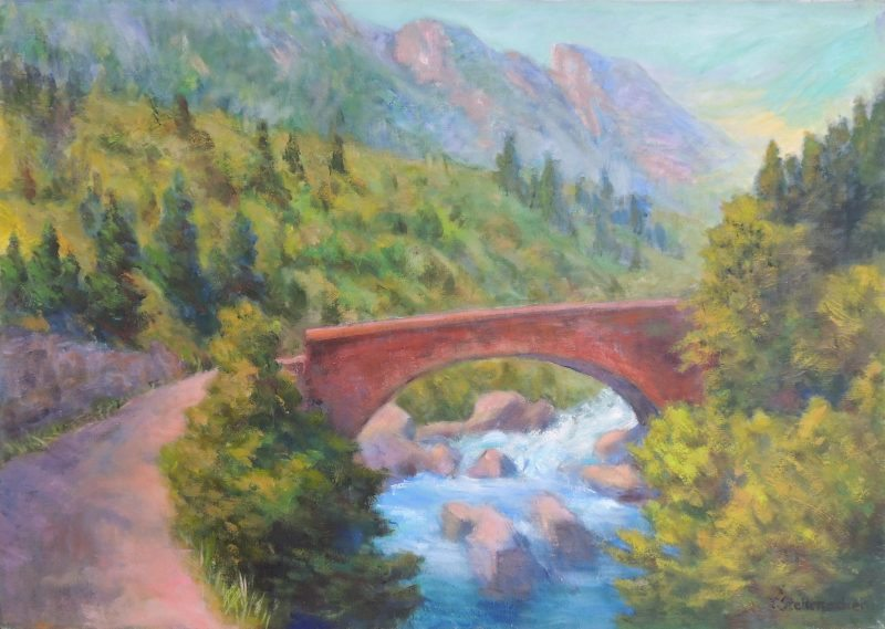 Brücke über den Sturzbach Acryl auf Leinwand 50x70 cm