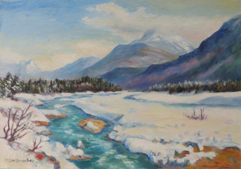 Lechtal im Schnee Acryl auf Leinwand 50x70 cm