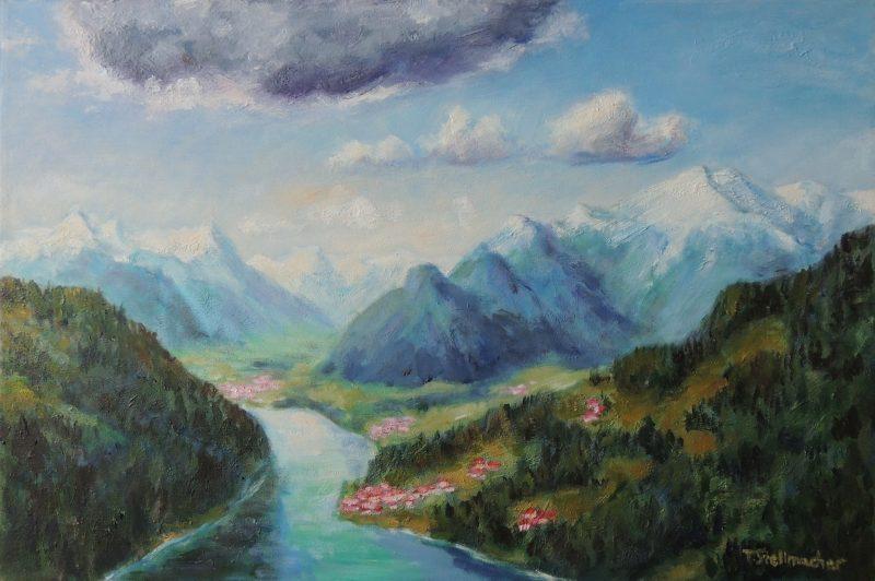 Millstaetter See von oben Acryl auf Leinwand 40x60cm