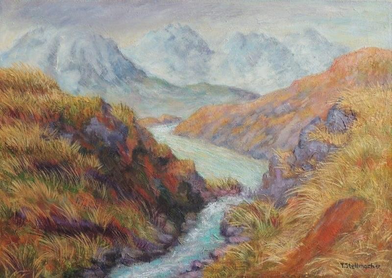 Silvretta im Dunst oberhalb der Jamtalhuette,  Acryl auf Leinwand 50x70cm