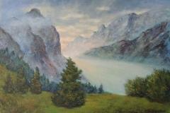Lichtdurchflutetes Alpental abends im Karwendel