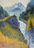 Schlucht mit Sturzbach und Felsblock