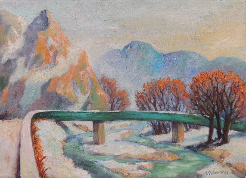 Gruene Bruecke ueber die Ahr in der Eifel bei Altenahr