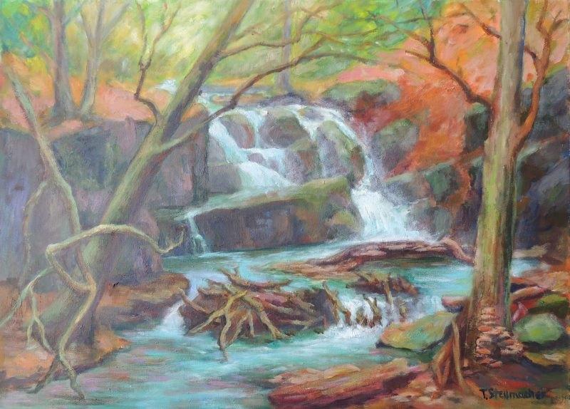 Teufelsschlucht mit Wasserfall in einem Nebental der Mosel Oel und Acryl auf Leinwand 50x70 cm