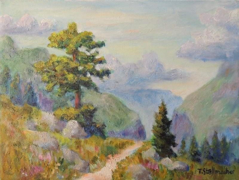 Blick in die Schlucht bei Engelberg Acryl auf Leinwand 30x40 cm