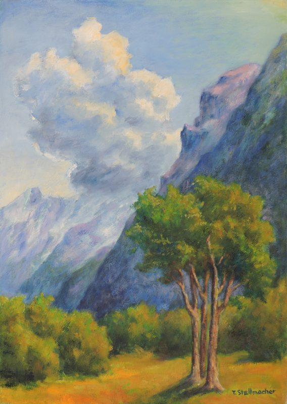 Drohende Wolke ueber den Schweizer Bergen bei Engelberg Acryl auf Leinwand 50x70 cm