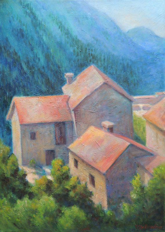 Häusergruppe am Berghang im Tessin