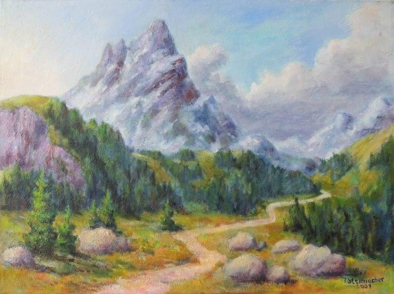 Ueber den Pass, Acryl auf Leinwand 50x70 cm
