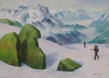 Wanderer auf dem Gletscher am Maighels-Pass in der Schweiz, Acryl auf Leinwand, 50x70 cm