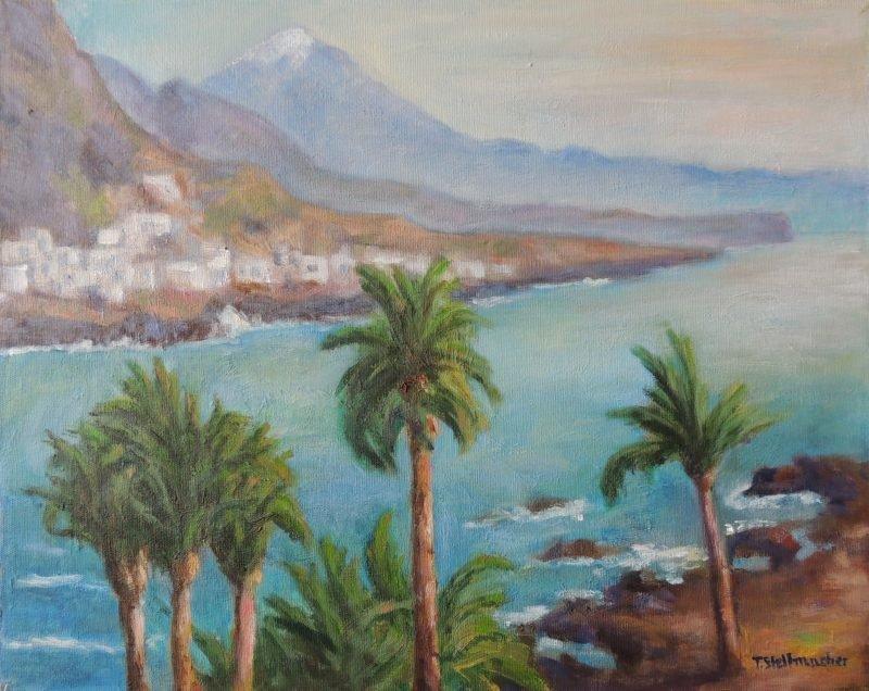 Blick ueber Palmen zum Teide Acryl 40x50cm