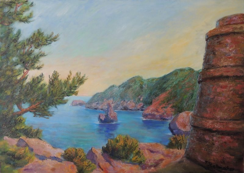 Felsbucht auf Ibiza mit Torre Acryl 50x70 cm