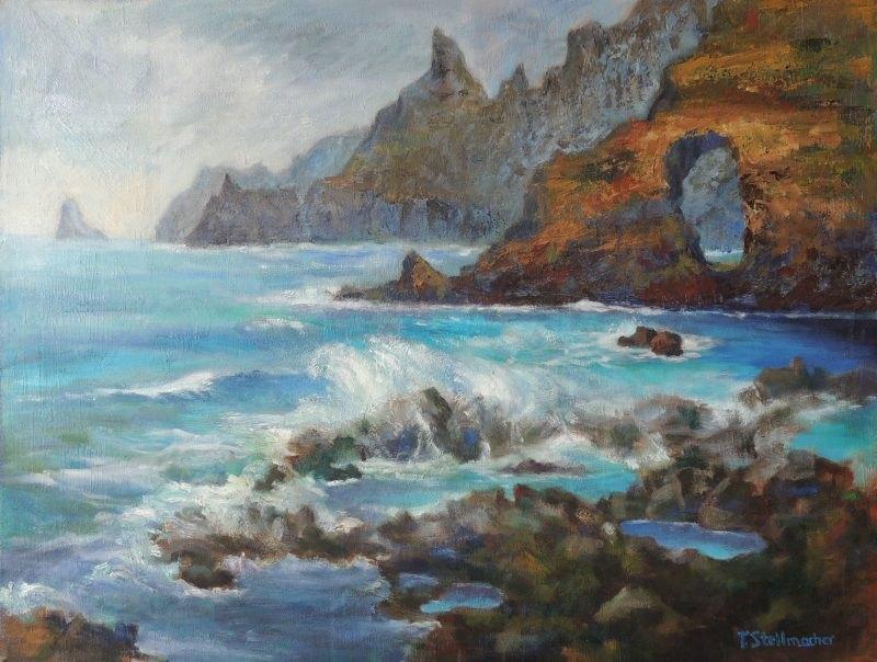 Felsentor Nordkueste Teneriffa Acryl auf Leinwand 50x70cm