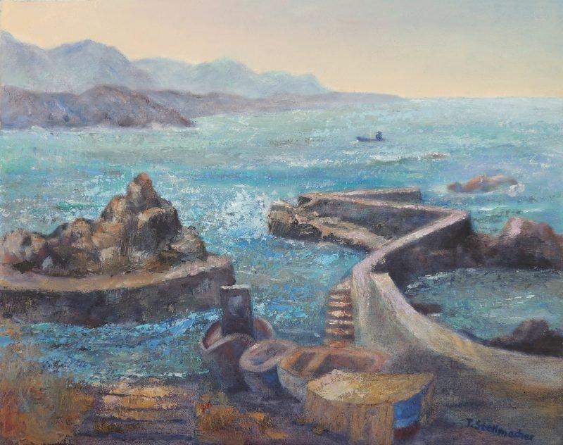 Hafen im Norden Teneriffas Gemaelde Acryl auf Leinwand 55x70 cm