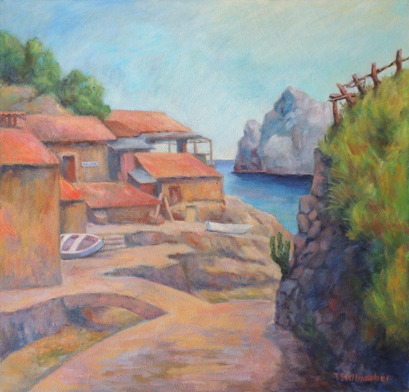 Hafen von Deja auf Mallorca Oel und Acryl auf Leinwand 65x65 cm
