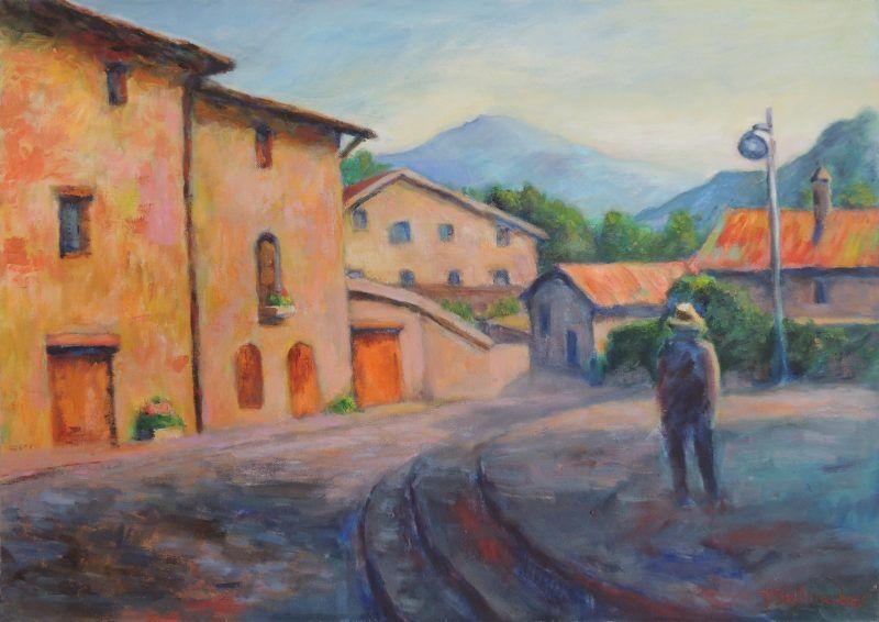Plaza in einem Pyrenäendorf Acryl auf Leinwand 50x70 cm
