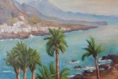 Blick über Palmen zum Teide
