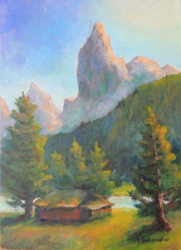 Blick Richtung Rosengarten bei Tiers in den Dolomiten in Suedtirol Acrylbild auf Leinwand