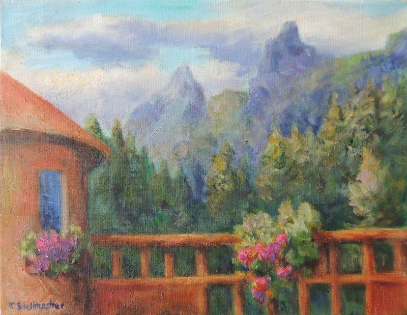 Blick-von-der-Terrasse-zu-den-Spitzen-des-Rosengartens-Acryl 30x40