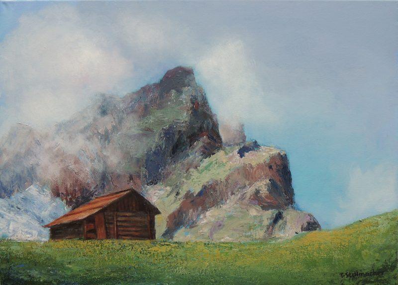 Nebel am Berg im Campilltal im Hochabtei in den Dolomiten in Suedtirol Acrylbild auf Leinwand 50x70 cm