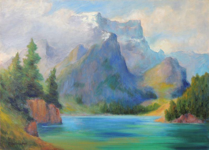 Pragser Wildsee mit wolkenverhangenen Felswaenden Acryl 50x70