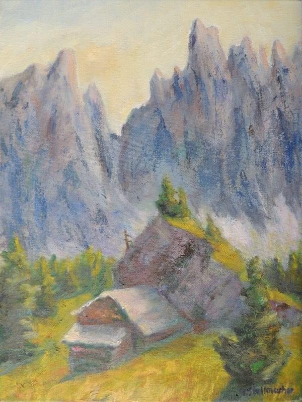 Schattenwaende des Latemar Acryl auf Leinwand 30x40 cm