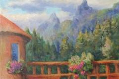 Blick von der Terrasse zu den Spitzen des Rosengartens
