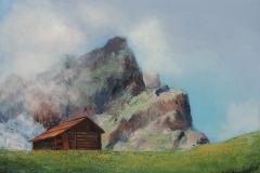 Nebel am Berg im Campilltal im Hochabtei in den Dolomiten