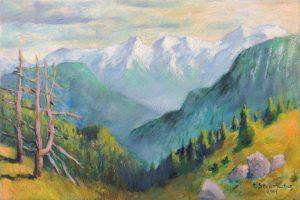 Blick von der Techendorfer Alm ueber dunstige Taeler zur suedlichen Bergkette 40x60 Oel