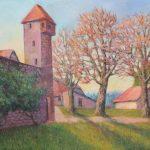 Storchenturm mit Stadtmauer in Rheinfelden, Acryl auf Leinwand 50x70cm
