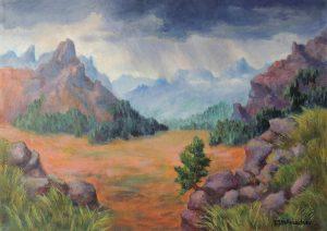 Aufziehendes Schlechtwetter ueber den Dolomiten Acryl auf Leinwand 50x70 cm