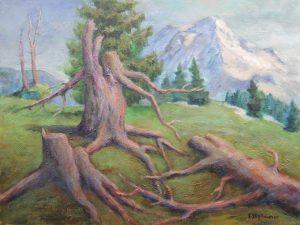 Baumruinen, in der Naehe vom Dachstein Acryl und Oel auf Leinwand 55x70 cm